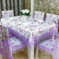 Wholesale 13pcs set lace polyester Tablecloth chair cover Dining Chair table Cover Set Home wedding Decor Table Cloth Home Textile