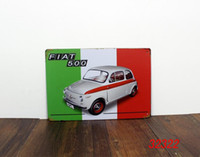 Wholesale FIAT Tin Sign Bar pub home Wall Decor Retro Metal Art Poster Italy WHITE CARS