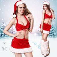 beautiful temptation - Hot Ladies Christmas Miss Santa Costumes Red Velvet Halter Back Out Bodycon Dresses Adult Xmas Beautiful Elfin Suits Sexy Outfits