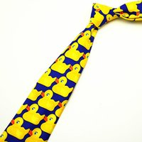 barney yellow - 500 cm High Quantity Yellow Duck Tie Men s Fashion Print Casual Character Necktie Wedding Party Barney Ducky Ties