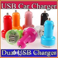 Wholesale 500X Candy dual usb car charger Auto Charger Adapter for iPod iPhone S S Plus Samsung HTC iPod iPad Blue LED Candy Color M SC