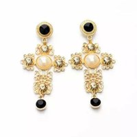 ancient alphabet - European Baroque Palace Retro Ancient Cross Pearl Drop Earrings Women Exaggeartion Dangle Earrings Statement Night Club Jewelry