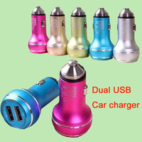 Wholesale Metal Mini USB Car Charger Portable Charger Colorful Mini Car Charge LED Light Universal Adapter For iPhone iPad Samsung S7 DHL CAB146
