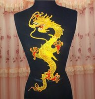 Wholesale 16 cm large golden dragon hot melt adhesive patch embroidered with paillette on imitated silk as clothes DIY raw material