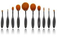 Wholesale HOT Makeup Brush Oval Toothbrush Shape Women pc Kit Foundation BB Cream Blusher Soft Shape Curve Brushes Foundation Cosmetic Tools