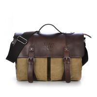 Wholesale Men Vintage Canvas messenger bag crazy horse leather soft man travel bags retro school bag hasp cover military style handbag