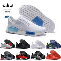 "Cheap Original Adidas NMD Runner R1 W 2016 ""Blue Glow"" Running Shoes Mens Women's Athletic sneaker Runners Shoe Cheap Brand Boost White With Box"