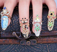Wholesale Colorful Crown Crystal Finger Nail Art Ring Jewelry Nail Finger Knuckle Rings Tail Ring Butterfly Knot Crown Protect Nail Alloy Accessory