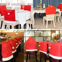 b chairs - Hot Sale Santa Claus Clause Hat Chair Covers Dinner Chair Cap Sets For Christmas Xmas Decorations Home Party Holiday Festive Red M353 B