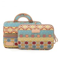 Wholesale 6 to inch Bohemian style shockproof portable canvas laptop sleeve Neoprene laptop bags with handle