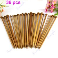 bamboo knitting needles free shipping - G104 set Sizes Carbonized Bamboo Knitting Needles Set Single Pointed Smooth Crochet Tool Chinese Style
