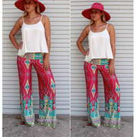 Cheap Summer Women Pants Casual High Waist Flare Wide Leg Long Pants Palazzo Trousers Floral Exuma Pant Preppy Boho Vintage Wide Leg Pants