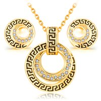 Wholesale jewelry sets vintage platinum k Rose Gold fashion classic crystal women girl charm rhinestone necklaces earring popular Africa set jewelry
