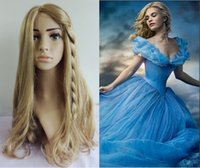 ash hair - New brand Movie Princess Cinderella popular Wig Long Curly Ash Blonde women Wigs Rapunzel Anime Cosplay Synthetic hair Braid