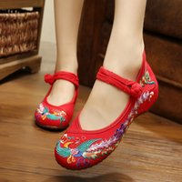 Wholesale New Arrival Women s Flat Shoes Old Peking Mary Jane Color phonix Flat Heel Ladies Casual Canvas Flats Plus Size