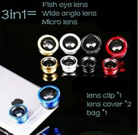 Wholesale Universal in1 CellPhone Lens Fish Eye Lens Wide Angle Lens Micro Lens Special Effect Lenses External Cell Phone Lens Fisheye Lens Free Ship