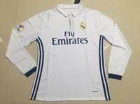 Wholesale 16 Long sleeve real madrid home and away soccer jerseys RONALDO JAMES BALE BENZEMA SERGIO RAMOS football jerseys