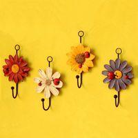 art hanging hooks - Closet coat and hat hanging hooks Ladybug and Daisy flowe resin wall hook art decorative flowers