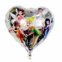 Wholesale Lucky cm Heart Tinkerbell Elfin Mylar Balloon For Birthday Party Fairy Aluminium Foil Balloons Helium Ballon Toys