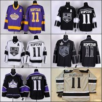 angeles team - Men Anze Kopitar Jersey Los Angeles Kings Ice Hockey Throwback Stadium Series Team Color Black White Embroider Best Quality