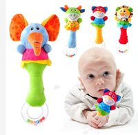 big baby rattle - 2016 New Lovely Baby Kid Soft Animal Model Handbell Rattles Handle Developmental Toys