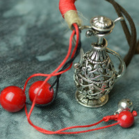 antiques bottles - Antique Silver Hollow Bottle Flagon Pendant Costume Long Leather Chain Vintage Necklace Jewelry Bijouterie For Women Girls