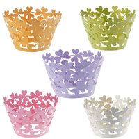 Wholesale 120pcs Laser Cut Heart petal Cupcake Wrapper Liners Bakeware Muffin Paper Cup Cake Wedding Gift Box Birthday Favor Baby Shower Kitchen Decor