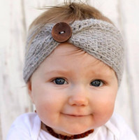 Cheap New Baby Buttons Headband Handmade Crochet Knitted Hairband Autumn Winter Headwrap For Baby Children's Hair band Accessories