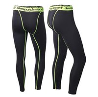 Wholesale Men compression pants sports running tights basketball gym pants bodybuilding mans joggers army green skinny leggings
