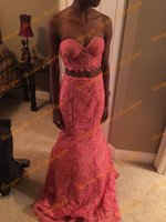african dance pictures - 2016 African Two Pieces Prom Dresses with Sweetheart Neckline and Sweep Train Real Pictures Fully Lace Mermaid Ring Dance Gowns Black Girls