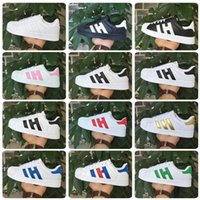 Wholesale Classic Shoes Men s Shoes For Women s Shoes White Shoe Laser Dazzle see Superstar Shell Head Sneakers