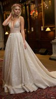 Wholesale silver wedding dresses lace beaded berta bridal gowns deep v neckline sleeveless straps ball gown backless wedding gowns