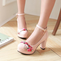 affordable dress shoes - Affordable Floral Elegant Office Chunky Buckle Platform Shoes Off White Round Toe Pumps Black Pink Blue Sale Cheap
