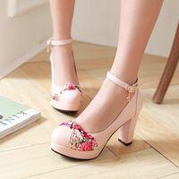 affordable heels - Affordable Floral Elegant Office Chunky Buckle Platform Shoes Off White Round Toe Pumps Black Pink Blue Sale Cheap