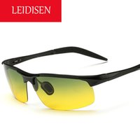 Wholesale LEIDISEN driving mirror day and night dimming night vision goggles polarized sunglasses men aluminum magnesium alloy cycling sunglasses