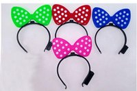 Wholesale Baby Kids Glowing bow Flash card bowknot hairpin concert band TY1976