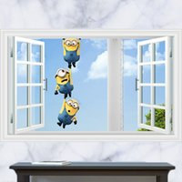 Wholesale 3D Windows Generic Minions Despicable Me Decal Wall Sticker Decor Nursery Art Mural BEDROOM living room vinyl Inspiration art