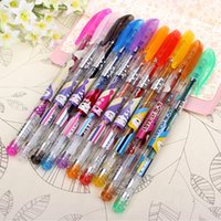 assorted stationary - 10x Assorted Colours Shine Glitter Sparkled Gel Pens With Case School Stationary