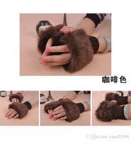 Wholesale rabbit fur gloves lady s winter fingerless gloves hand wrist glove half fingers gloves