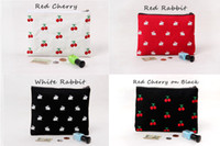 animal print clutch - Embroidery Cherry Rabbit Canvas Fabric Clutch Bag Purse Handbag File Pocket Coin Purse Cosmetic Bags Debris Bags Zipper Cotton Liner linning