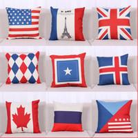 al por mayor lanzamiento de la bandera americana-Unión Jack bandera americana de la bandera nacional de almohada de algodón de lino caso Cojín cuadrado de la almohadilla de tiro de la cubierta pillowslip regalos de Navidad 240278