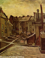 backyard landscapes - Van Gogh Paintings Museum Quality Handmade Oil Painting On Canvas Backyards of Old Houses in Antwerp in the Snow