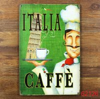 Wholesale ITALIA CAFFE Tin Sign Bar pub home Wall Decor Retro Metal Art Poster