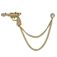 Wholesale Vintage Shirt Collar Pin Jewelry Men Suit Brooch Pins Accessaries Cheap Hollow Out Carved gun Brooches pins brooch