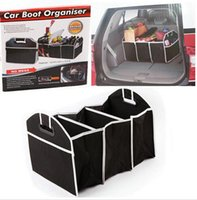 Wholesale DHL Free Car Boot Organizer Stuff Food Storage Bags trunk organiser Automobile Stowing Tidying Interior Accessories Folding Collapsible