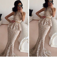 art buyer - Real Buyer Show Vestido Branco Mermaid Dresses With Peplum Evening Dress Sweep Train Prom Dress Party Gown Scoop Neck Lace Sexy