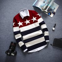 Wholesale New Arrival Tide models Sweaters Men High quality Full Brands Fashion casual Pullovers Stitch Stripe Five Star Men Sweaters