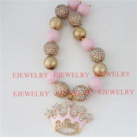 ab crowns - Alloy Pink Crown Gold Wrinkle beads AB Color Rhinestone beads Chunky Kids Necklace girl chunky necklace Bracelet SetCB804