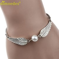 beauty dive - PC Diomedes New Silver Brown Imitation Pearl Angel Wings Jewelry Dove Peace Bracelet for Women Lady Beauty Perfect Gift