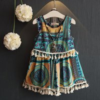 Wholesale 2016 girls Bohemian dress sleeveless condole belt national wind small dress skirt holiday